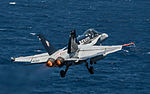 FA-18C Hornet of VFA-34 after launch from USS Ronald Reagan (CVN-76) in July 2015.JPG