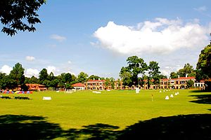 The Doon School - Main Field of the school with Kashmir and Hyderabad houses in the background.