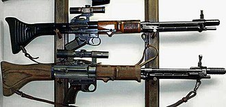 Automatic rifle - Both early (top) and late-war (bottom) variants of the FG 42.