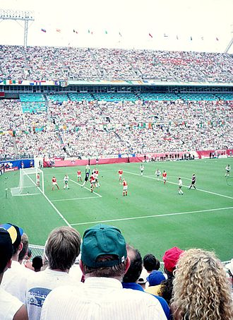 Republic of Ireland national football team - Republic of Ireland playing Netherlands at the Citrus Bowl in Orlando, Florida, where they lost 2–0 in the Round of 16 of the 1994 World Cup