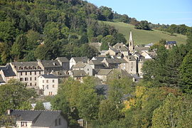 The church and surrounding buildings in Bagnols-les-Bains