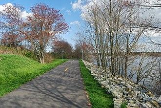 Watuppa Ponds - Bike path along South Watuppa Pond, Fall River, Massachusetts