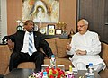 Farooq Abdullah with the Minister of Energy and Natural Resources, Djibouti, Dr. Fouad Ahmed Aye, at a bilateral meeting, on the sidelines of International Seminar on Energy Access, in New Delhi on October 11, 2012.jpg