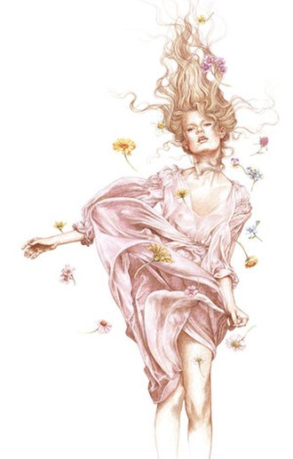 """Anne Yvonne Gilbert - """"Fashion Drawing"""", one of Gilbert's works drawn by coloured pencils"""