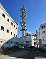 "Fengselet (""The Prison"") in Jens Hystadvegen, Leirvik, Stord, Norway. Radio tower (""Telebygget"") in Borggata 10. 2018-03-13 a.jpg"