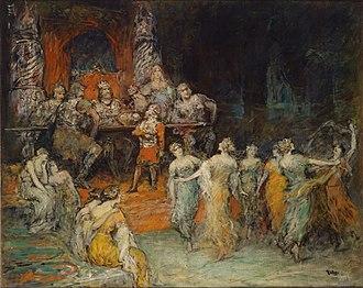 """Laurin (poem) - """"Zwergenkönig Laurin am Hof des Dietrich von Bern."""" 1926 Painting by Ferdinand Leeke depicting Laurin at Dietrich's court at the end of the poem."""