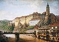 Ferdinand Runk - Pohled na zámek Český Krumlov (1824).jpg