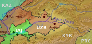 Hizb ut-Tahrir in Central Asia - Fergana Valley (highlighted). (Country names abbreviated)