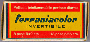 Ferrania - Package of the Ferraniacolor reversal roll film type 120 produced by Ferrania S.p.A. in the 1950s