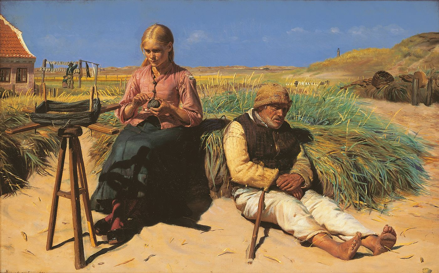 Figures in a landscape. Blind Kristian and Tine among the dunes.