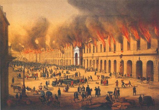 Пожар в Апраксином дворе 28 мая 1862 года, вид с Садовой улицы. Литография