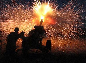 M119 howitzer - 105mm howitzer being fired by A Battery, 2-218th Field Artillery of Oregon