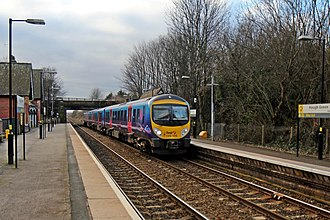 Hough Green railway station - Image: First Trans Pennine Class 185, 185105, Hough Green railway station (geograph 3819584)