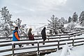 First tracks after fresh snow on the boardwalks at Mammoth Hot Springs (25097630337).jpg