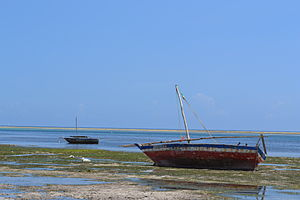 Fishing boats as viewed from Nyali Beach next to the Reef Hotel during low tide and still conditions in Mombasa, Kenya 3.jpg