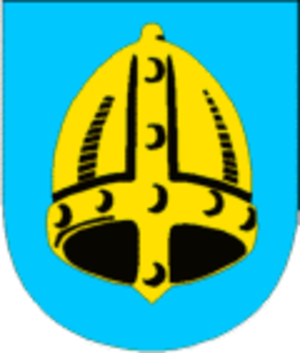 Battle of Fitjar - Fitjar coat-of-arms featuring a golden helmet