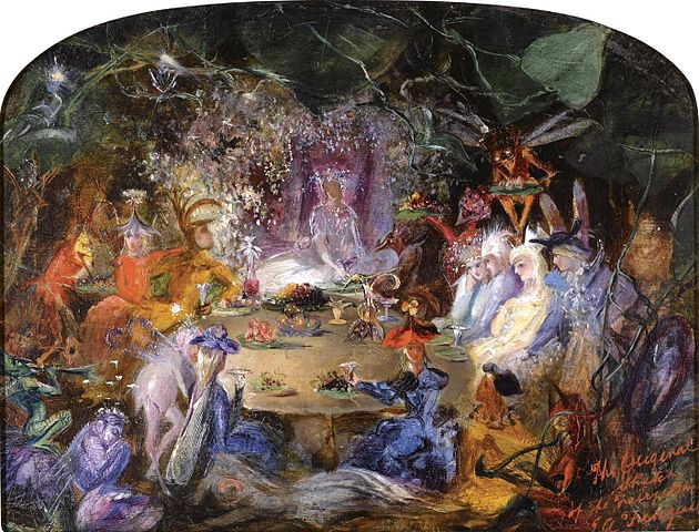An image of a banquet attended by fairies by John Anster Fitzgerald.