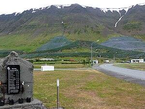 Flateyri - Avalanche dam in A form in Flateyri