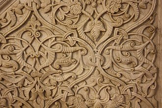 Palmette - Stone relief with arabesques of tendrils, palmettes, and half-palmettes in the Umayyad Mosque, Damascus