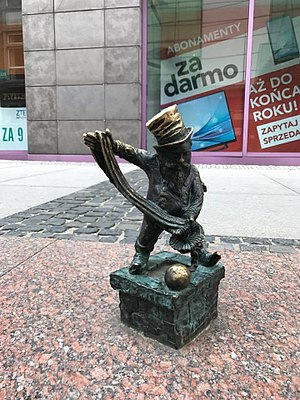 Wrocław's dwarfs - Florianek, the first chimney sweeper among the Wroclaw dwarves. The legend says that he makes everyone happy.