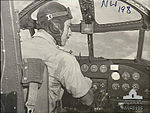 Flying Officer Cambridge of 2 Squadron RAAF at Hudson controls Hughes NT Mar 1943 AWM NWA0196.jpg