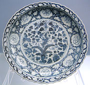 Foliated dish with underglaze blue design of melons, bamboo and grapes, Jingdezhen ware, Yuan, 1271-1368, Shanghai Museum.jpg