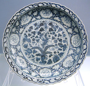 Plate (dishware) - Typical Chinese plate or dish shape, with narrow lip. Jingdezhen ware, Yuan dynasty, 1271-1368