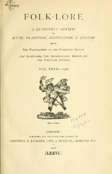 Folk-lore - A Quarterly Review. Volume 27, 1916.djvu