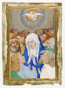 Follower of Simon Marmion - Pentecost showing the Virgin surrounded by 12 apostles.jpg