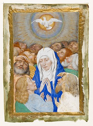 Pentecost showing the Virgin surrounded by 12 apostles