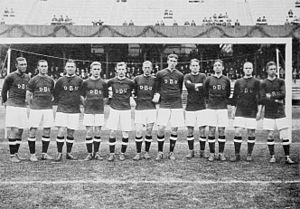Denmark national football team - Danish team, winning the Silver medals at the 1912 Olympics.