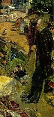 Carlyle e Frederick Maurice ritratti in un particolare di Work (1865) di Ford Madox Brown