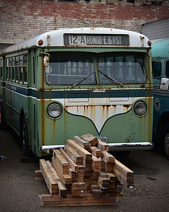 Minnesota Transportation Museum - An older Mack bus behind the Jackson Street Roundhouse