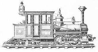 "Cab forward - ""Ariel"", a Forney-type cab-forward locomotive: headlight and ""cowcatcher"" on the left side of this image"