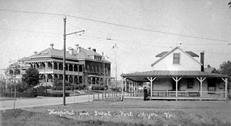 Northern Virginia trolleys - Arlington Fort Myer trolley station. Post hospital at left.