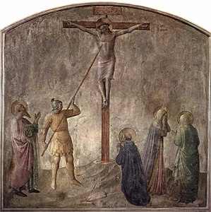 Holy Lance - Fresco by Fra Angelico, Dominican monastery at San Marco, Florence, showing the lance piercing the side of Jesus on the cross (c. 1440)