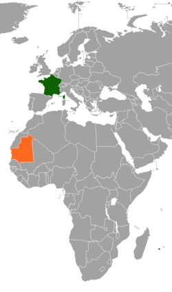 Map indicating locations of France and Mauritania
