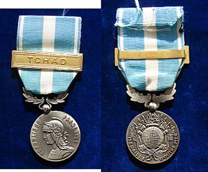 Overseas Medal - Image: France Military Medal Tschad, with original ribbon