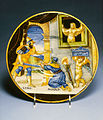 Francesco Xanto Avelli - Plate with Hypermnestra Watching Lynceus Take Her Father's Crown - Walters 481324.jpg