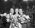 Franck Pourcel, Hannie Lips en André Claveau bij het Eurovisiesongfestival, Bestanddeelnr 909-4021.jpg