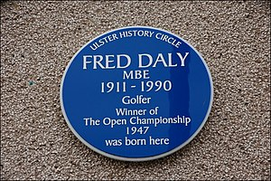 Fred Daly (golfer) - Blue plaque in Portrush