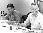 Fred Haise (left) and Jim Lovell during pre-launch breakfast.jpg