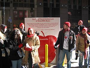 Fiona Apple - Fans in support of Fiona Apple demonstrating outside the NYC headquarters of Sony BMG Music Entertainment in January 2005.