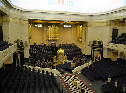 The Grand Temple set up for a meeting Freemasons Hall London Grand Temple.jpg