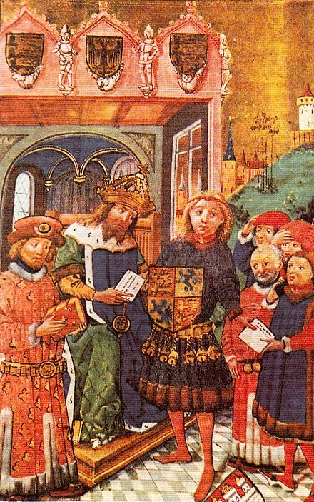 Otto the Child is enfeoffed with Brunswick-Luneburg by Emperor Frederick II, Luneburg Sachsenspiegel, 1448 FriedrichIIbelehntottodaskind.jpg