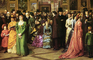 Artistic Dress movement - William Powell Frith's satiric painting of 1883 contrasts women's Aesthetic dress (left and right) with fashionable attire (center) at a private view.  Detail of A Private View at the Royal Academy, 1881.