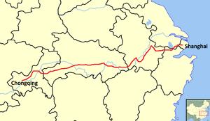 G50 Shanghai–Chongqing Expressway - Image: G50 Expressway Map