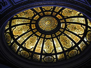 Stained glass dome at Chicago Cultural Center,...