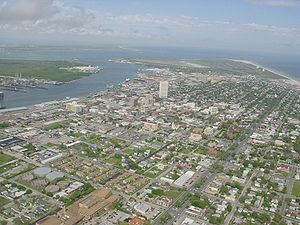 History of Galveston, Texas - Downtown Galveston as viewed from the air.