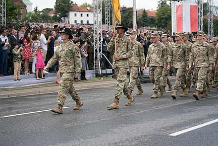 Capt. Samuel Taylor leads B (Blackhawk) Troop in the 2018 Polish Armed Forces Day Parade in Warsaw, Poland. Garryowen Marches in Celebration of Polish Independence.jpg